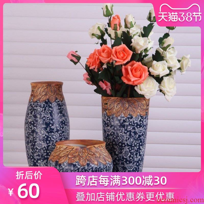 Modern Chinese art show of jingdezhen ceramic vase three - piece porch decorate household act the role ofing is tasted