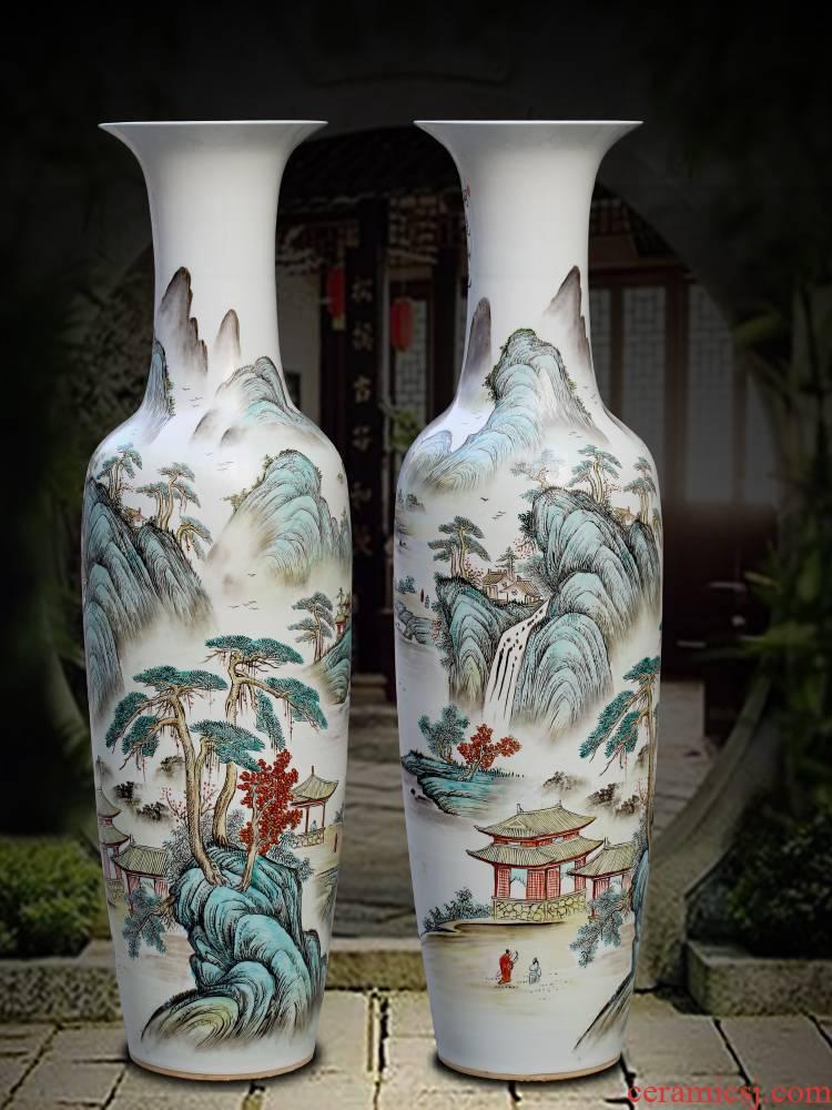 Jingdezhen ceramics powder enamel handpainted landscape ground sitting room big vase household of Chinese style decorative furnishing articles