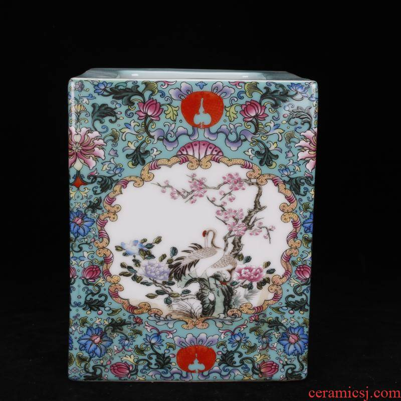 "Jingdezhen imitation the qing colored enamel painting of flowers and brush pot ""four desk pen sea antique antique Chinese style archaize ceramic furnishing articles"
