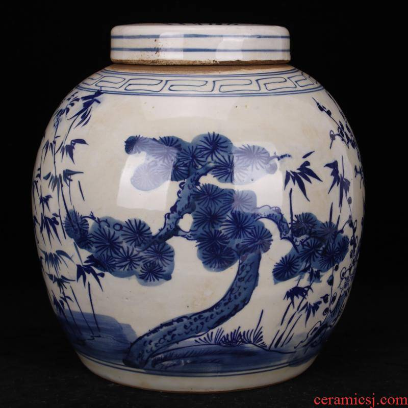 Jingdezhen folk pure checking poetic age old blue - and - white porcelain jar do old antique reproduction antique collection furnishing articles