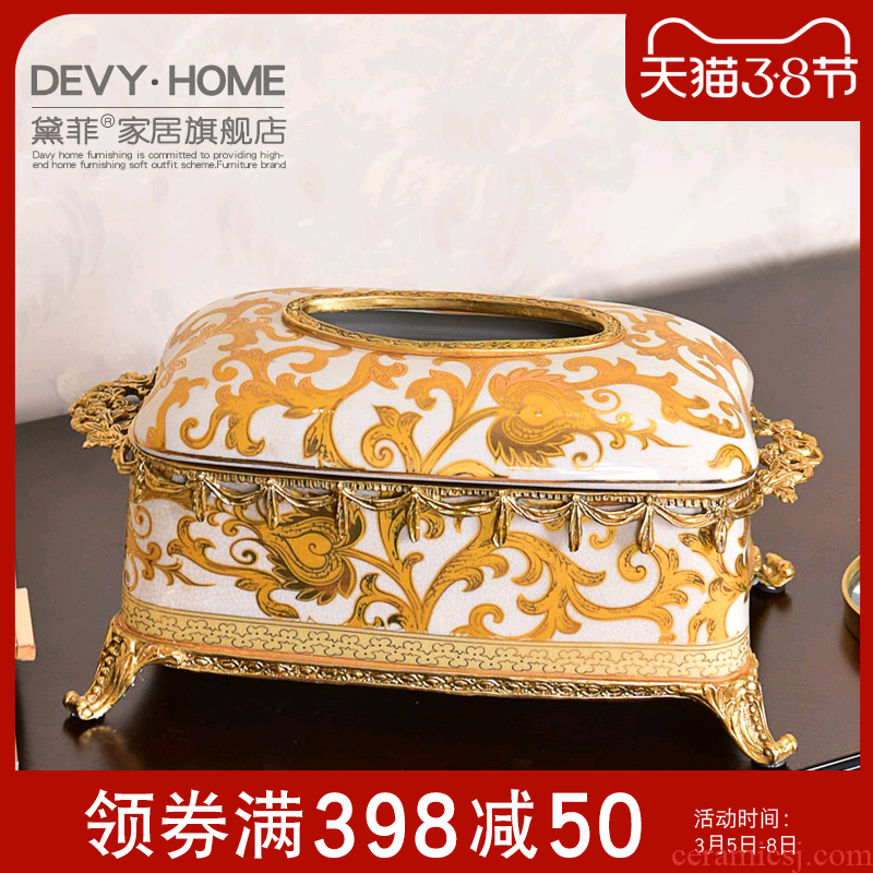 American ceramic light creative key-2 luxury furnishing articles European sitting room tea table tissue box key-2 luxury household act the role ofing is tasted the receive a case furnishing articles