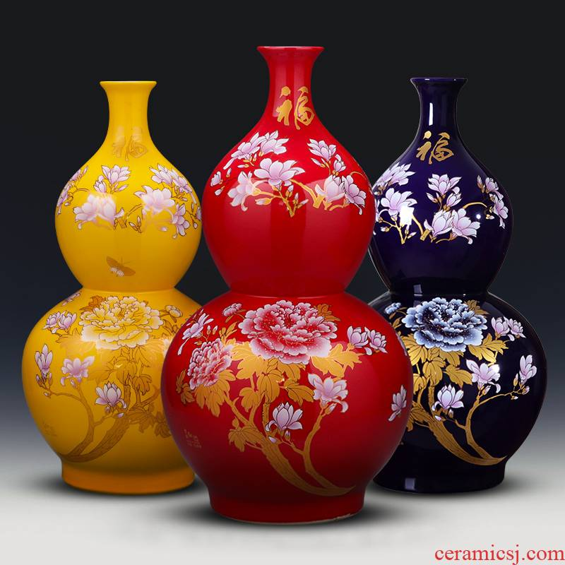 Jingdezhen ceramics of large vase large gourd vases flower arrangement sitting room TV ark, hotel decoration
