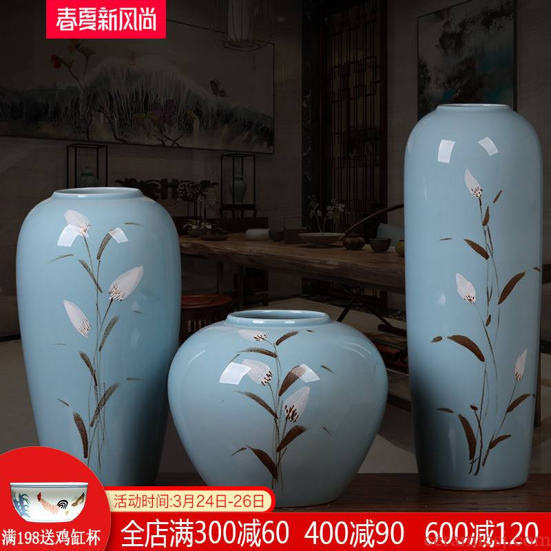 Jingdezhen ceramic modern new Chinese style three - piece vases, flower arranging place to live in the sitting room porch zen ornaments