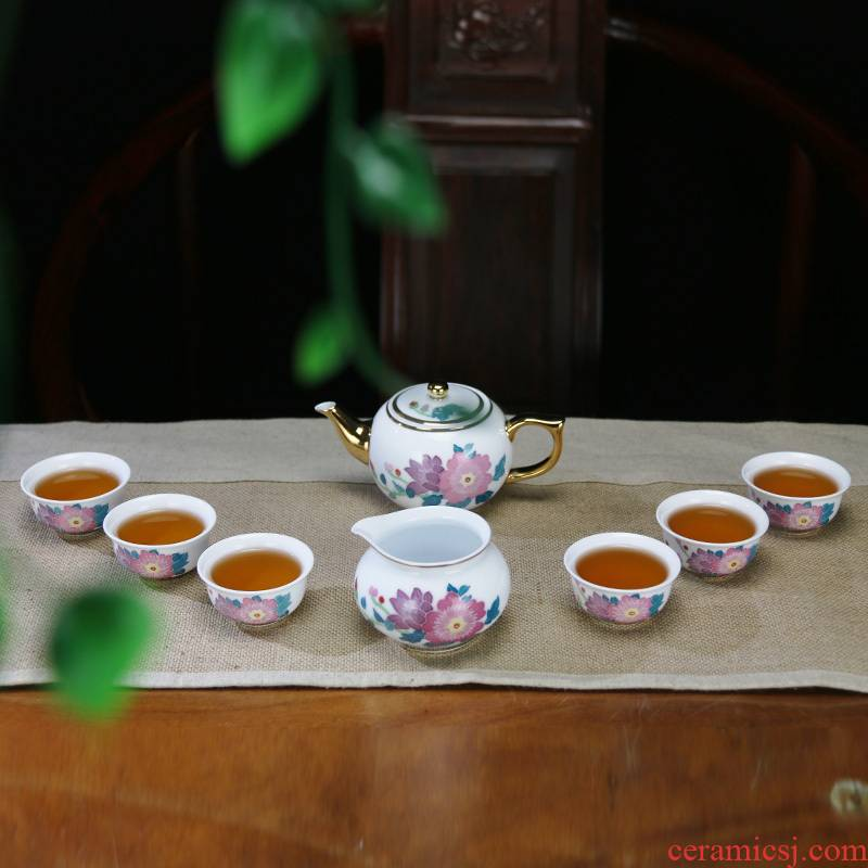 A complete set of new ceramic kung fu tea set under the glaze color hand - made teapot gift six cups of tea