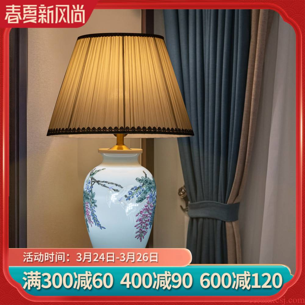 Jingdezhen ceramics hand - made vase lamp sabingga sukdun dergici jimbi furnishing articles berth lamp of new Chinese style household, sitting room adornment