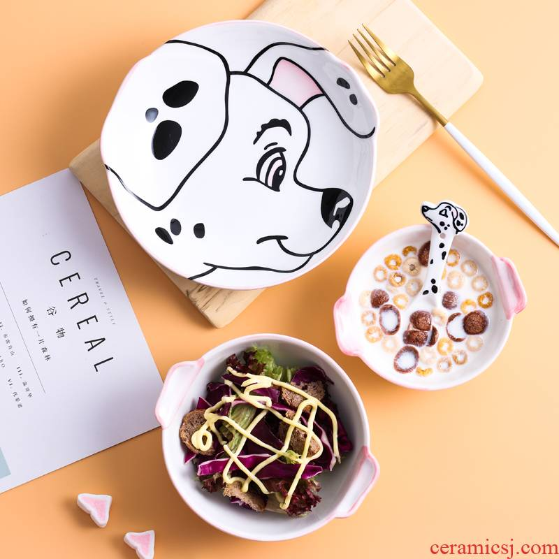 Express cartoon expression of dog ceramic tableware dish bowl spoon sets shiba inu the design web celebrity huskies modelling of the children