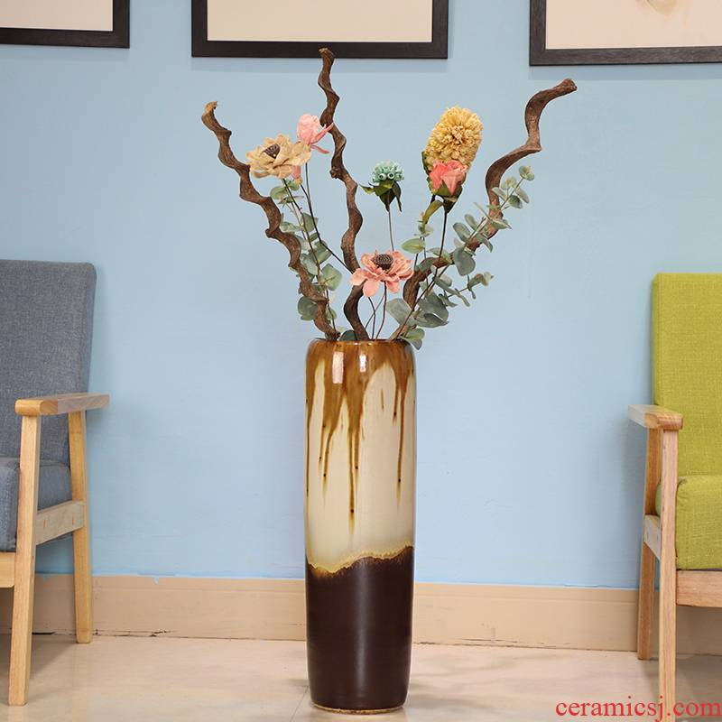Jingdezhen European ceramic vase of large sitting room lucky bamboo is placed a I and contracted dried flower arranging flowers large