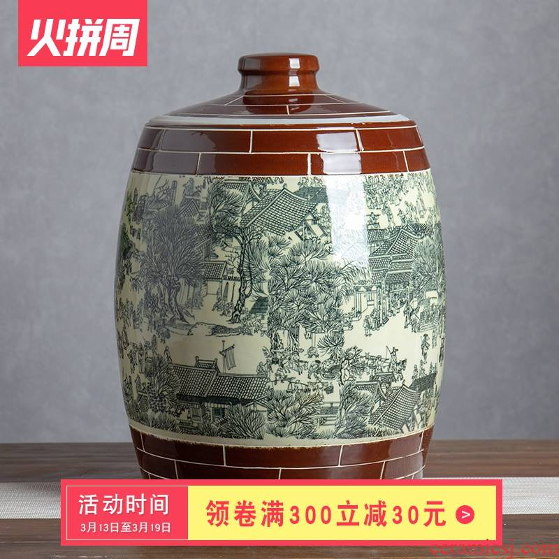 Jingdezhen ceramic barrel ricer box 50 pounds to rice storage box with cover qingming scroll flour barrels of household seal pot