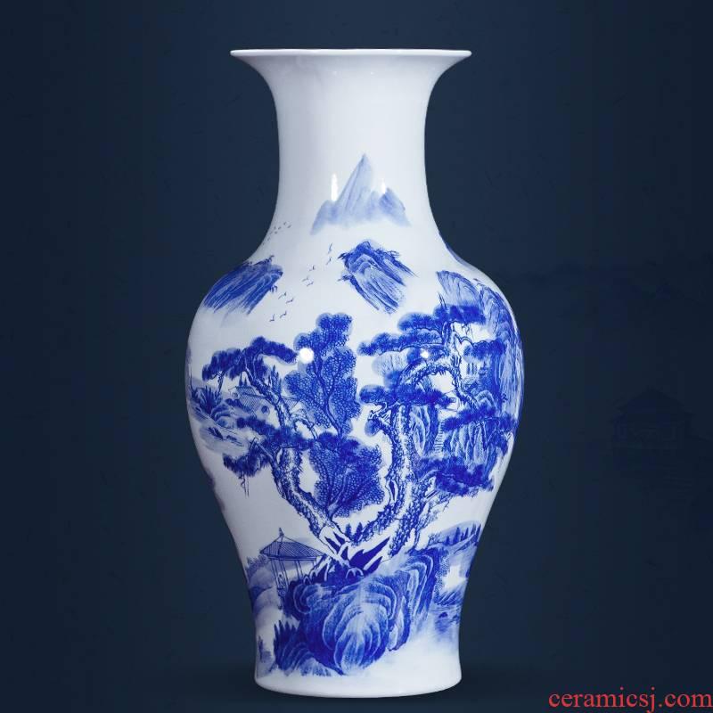 Jingdezhen ceramics landscape painting large blue and white porcelain vases, flower arrangement antique Chinese style household, hotel floor furnishing articles