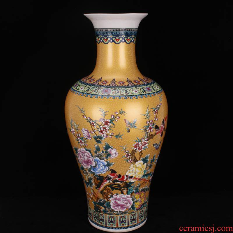 Jingdezhen imitation qianlong antique colored enamel in yellow flowers and birds landing big goddess of mercy bottle Chinese style classical Ming and the qing dynasty vase