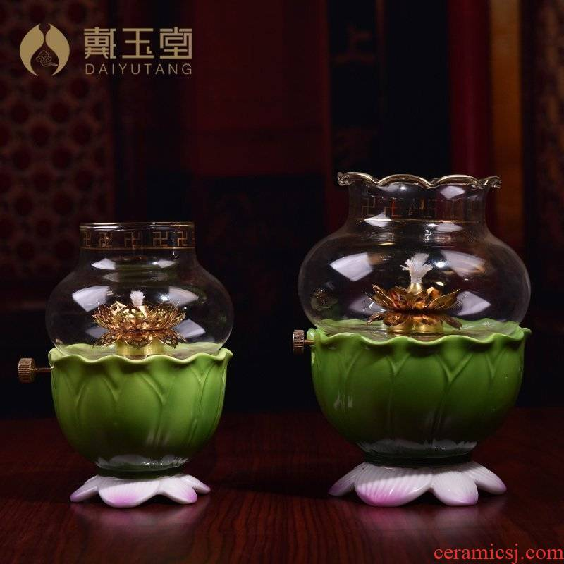 Yutang dai ceramic balm ('m lamps ghee Buddha with supplies furnishing articles for Buddha lamp wind size can be adjusted
