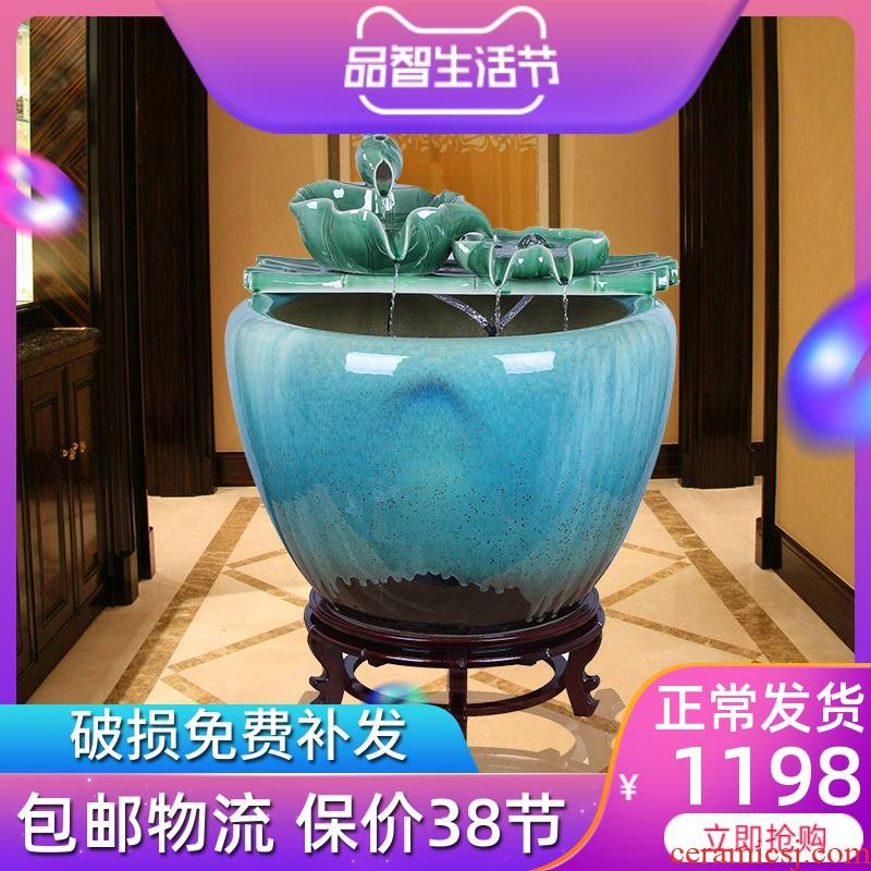 Jingdezhen ceramic fish tank is big sitting room be born king hotel courtyard brocade carp fish tank water aquarium
