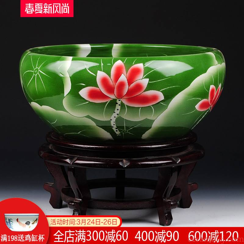 Collectors jingdezhen chinaware lotus goldfish turtle cylinder water lily refers to flower pot decorative furnishing articles large