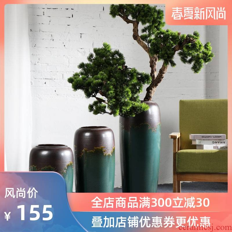 Modern ground vase variable glaze color restoring ancient ways furnishing articles flower arranging villa wine sitting room adornment ceramics green and black