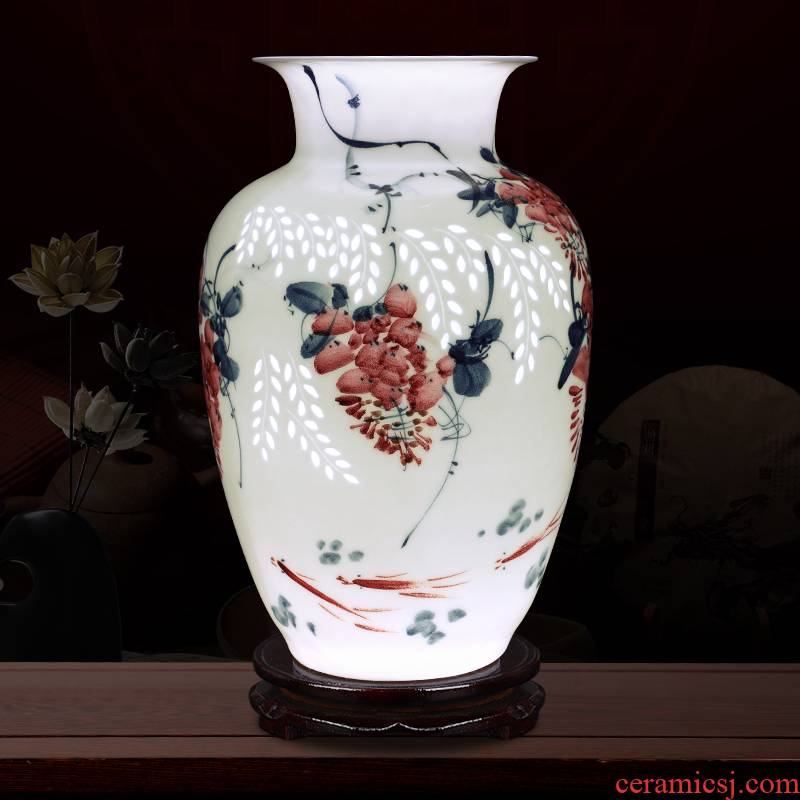 Creative thin foetus and exquisite porcelain jingdezhen ceramics sabingga sukdun dergici jimbi furnishing articles carve vases, flower arranging hand - made ornaments