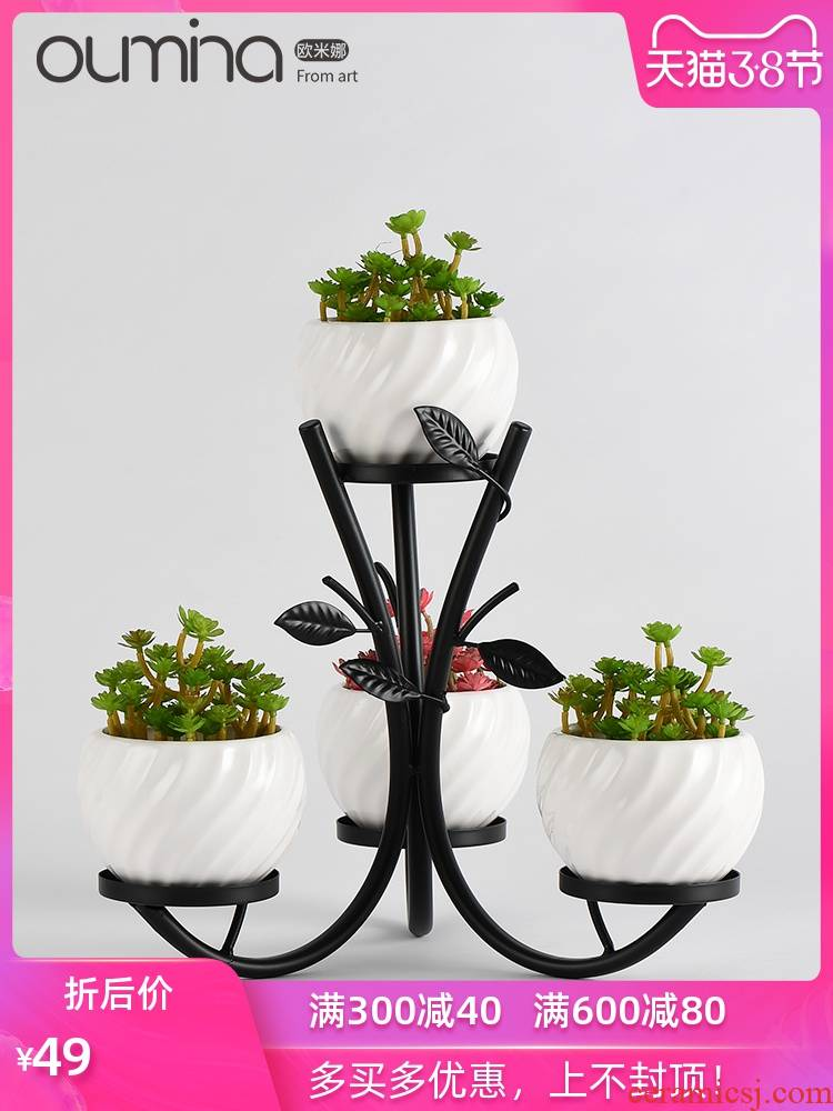 Wrought iron flower ceramic flower implement furnishing articles potted balcony decoration interior decoration creative home sitting room office