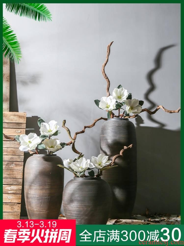 Jingdezhen retro nostalgia manual landing big vase sitting room between example theme dining - room ceramic flower arranging furnishing articles