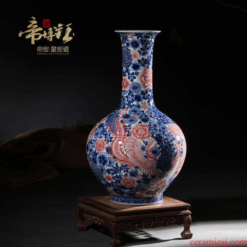 Jingdezhen blue and white youligong ceramics imitation the qing qianlong feng wear vase is a new Chinese style living room home furnishing articles