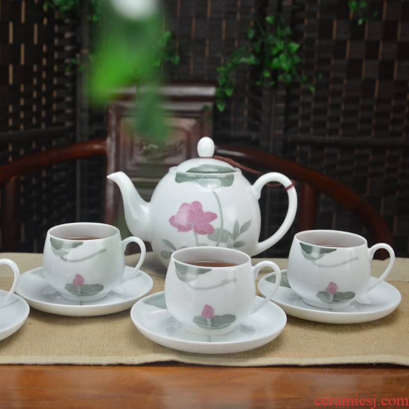 The Under glaze color porcelain kung fu tea set hand - made of high - capacity 9 cups and saucers office home tea gifts