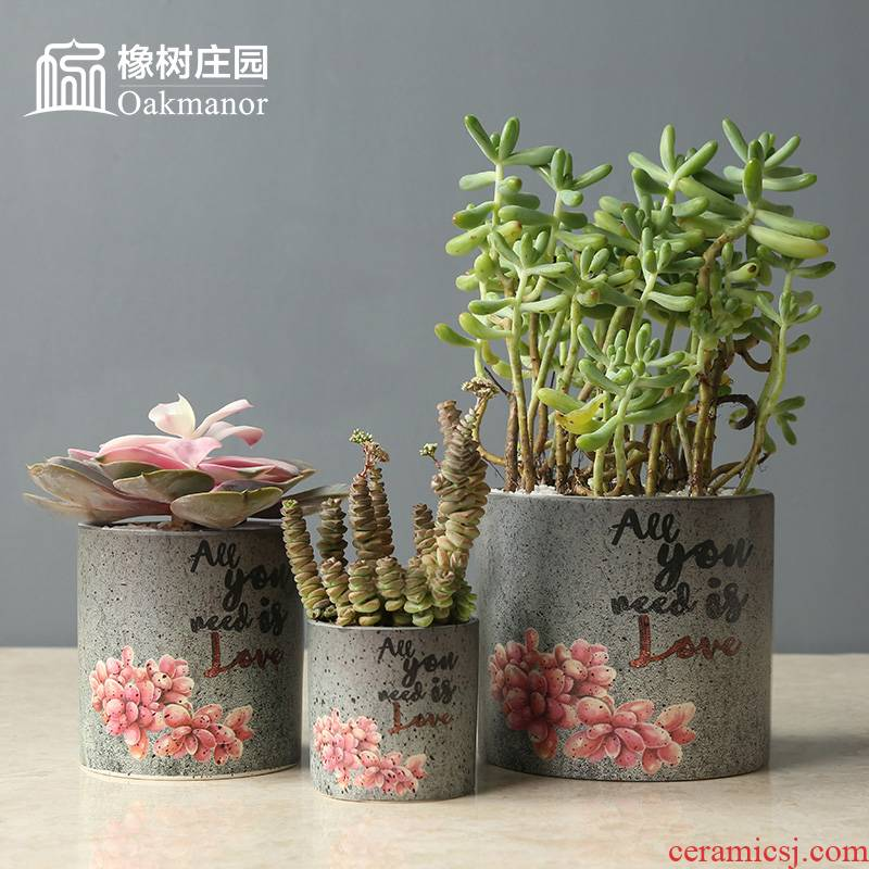 Nordic retro creative coarse pottery flowerpot more meat meat meat plant is potted balcony decorate adornment soil pottery pot