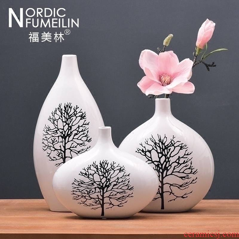 Jingdezhen ceramic vase furnishing articles sitting room flower arranging three - piece jewelry TV ark, household act the role ofing is tasted I and contracted