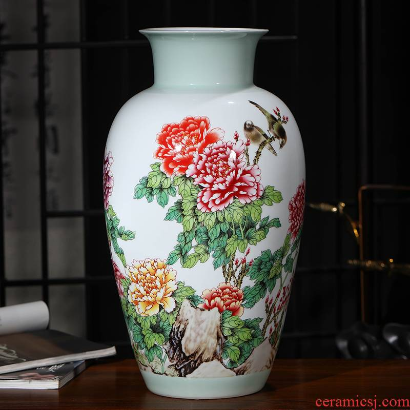 Jingdezhen ceramics Chinese peony vases, flower arranging Chinese style living room TV ark, home furnishing articles