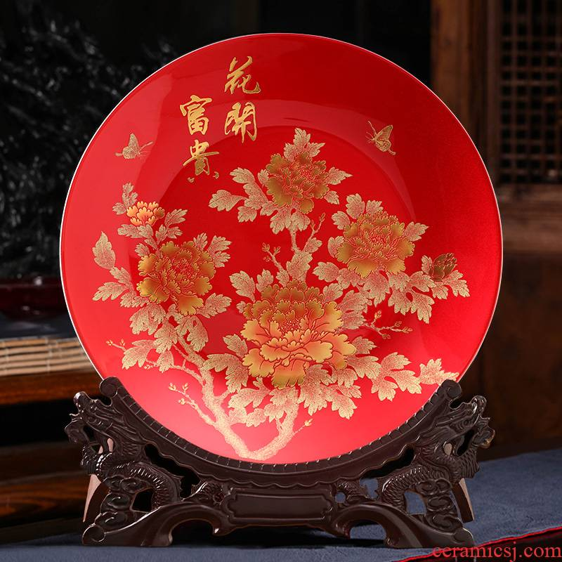 Peony hang dish of jingdezhen ceramics handicraft decorative plate Chinese style household decorates porch office furnishing articles