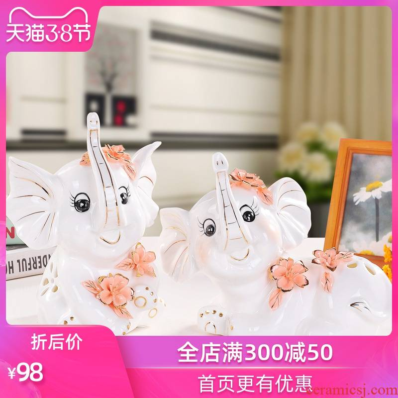European - style decoration home decoration ceramic creative wedding gift crafts sitting room elephants desktop furnishing articles