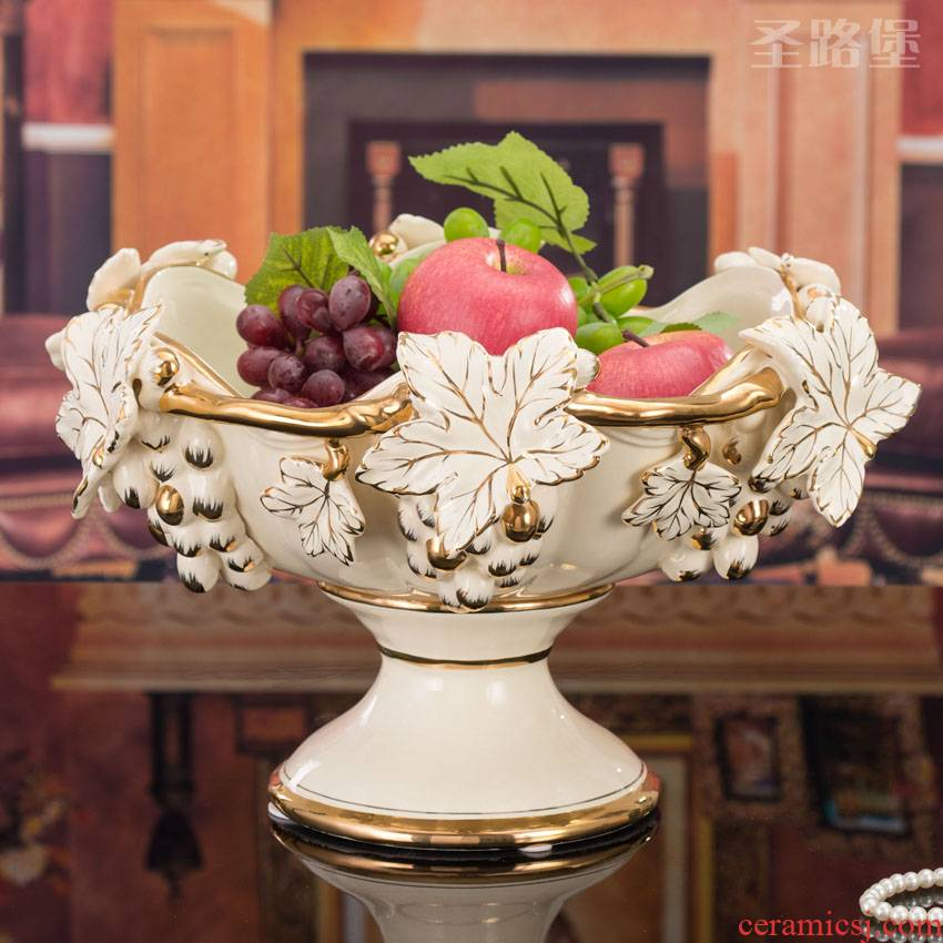 St way fort European ceramic fruit bowl sitting room creative household adornment large embossment grape compote furnishing articles