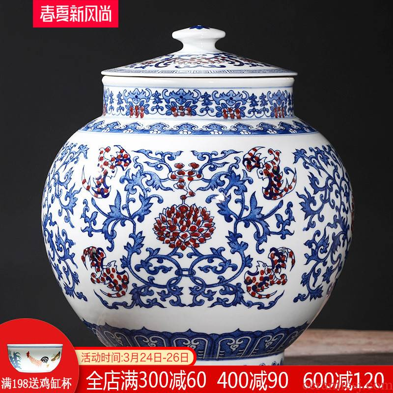 Imitation yongzheng hand - made antique blue and white porcelain of jingdezhen ceramics storage tank classical sitting room home furnishing articles