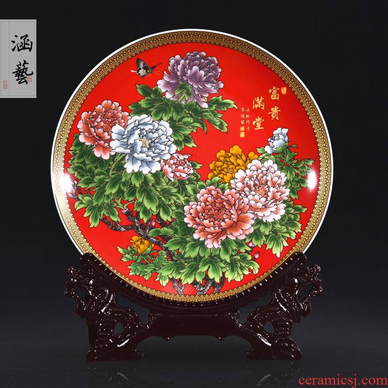 Jingdezhen ceramics powder enamel with a silver spoon in its ehrs expressions using the and decorative plates of new Chinese style household adornment handicraft furnishing articles sitting room