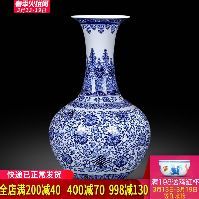 Jingdezhen ceramics imitation qianlong hand - made of blue and white porcelain vases, classic Chinese style home furnishing articles sitting room