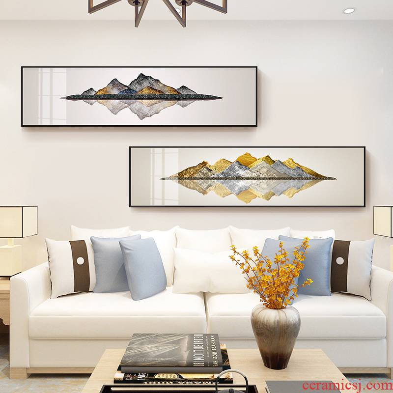 New Chinese style postmodern sitting room crystal porcelain painting landscapes hang a picture of the head of a bed office setting wall adornment backer