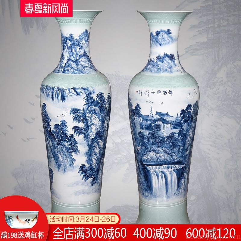 Jingdezhen ceramics hand - made scenery of large vases, Chinese style living room TV ark, porch decorate household furnishing articles