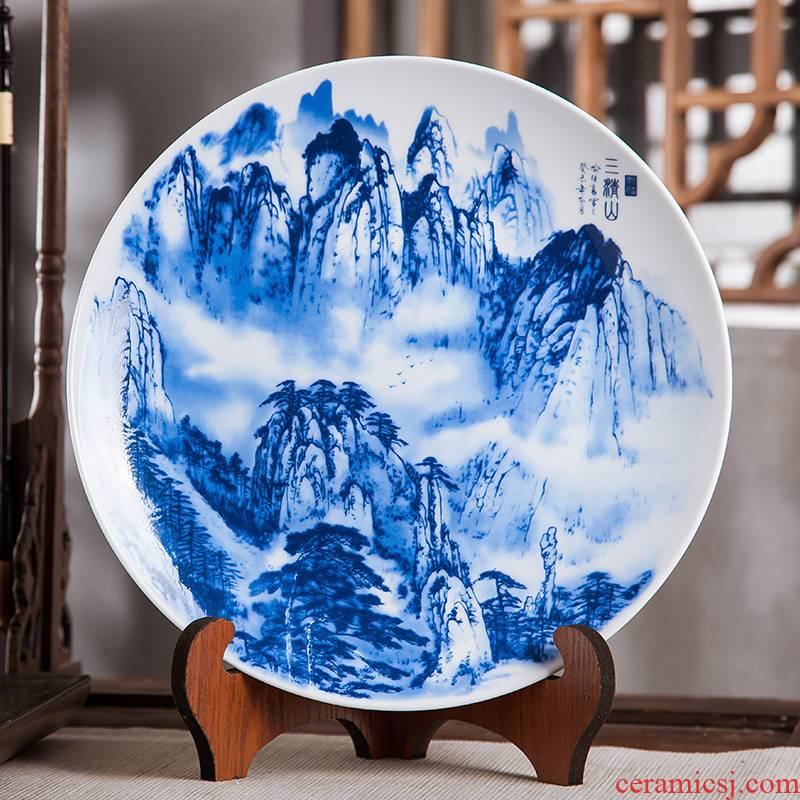 Jingdezhen ceramics furnishing articles hanging dish home decoration crafts mountain wine blue - and - white decoration plate