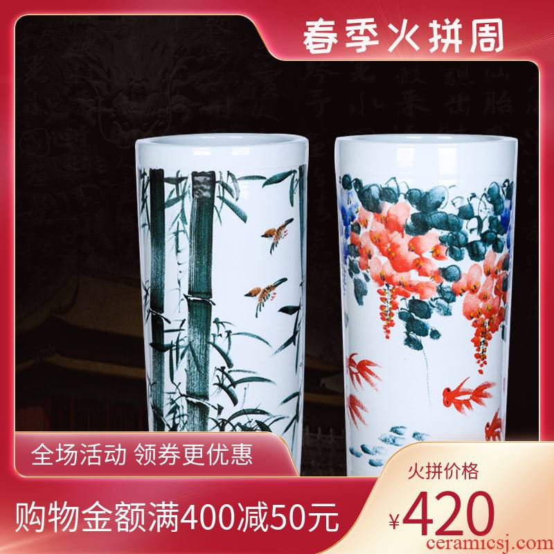 Jingdezhen ceramics hand - made quiver landing large bamboo vase furnishing articles and calligraphy cylinder scroll cylinder flower arranging the sitting room
