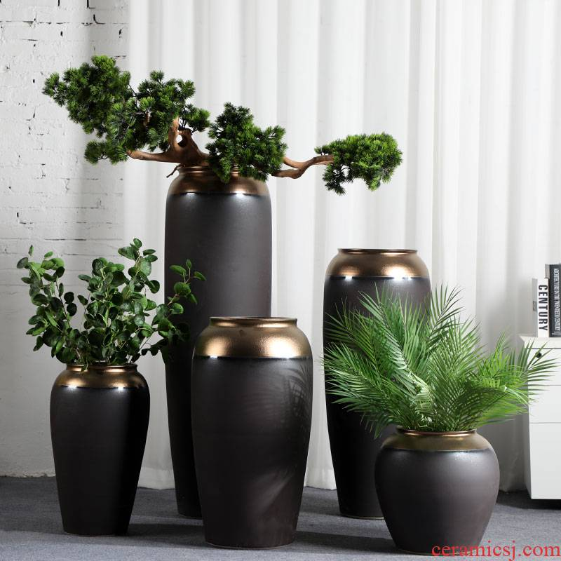 Ceramic light of large vase key-2 luxury black gold furnishing articles dried flower arranging flowers home decoration of Chinese style porch is decorated living room