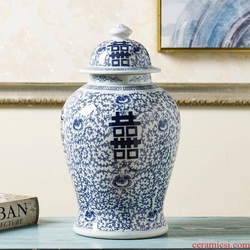 Jingdezhen new Chinese style originality general pot vase furnishing articles sitting room porch flower POTS of blue and white porcelain ornaments