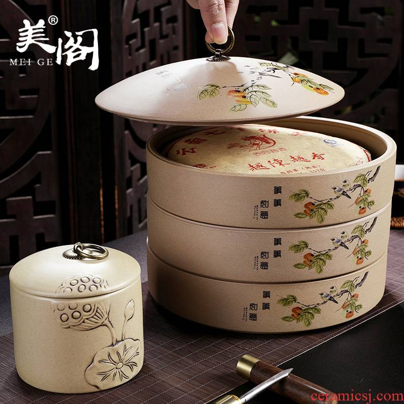 Beauty cabinet coarse pottery tea cake ceramic clay pot store tea POTS tea tin as cans of multilayer large - sized caddy fixings