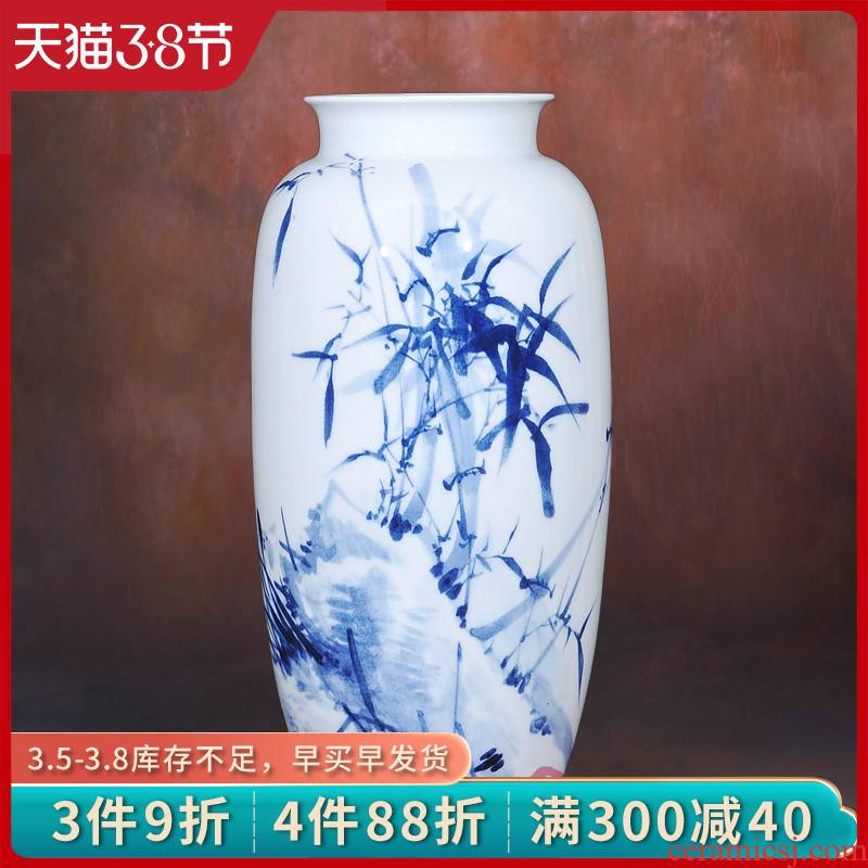Jingdezhen ceramic lrene hand - made LanZhu figure vase flower fashionable Chinese style classical home furnishing articles in the living room