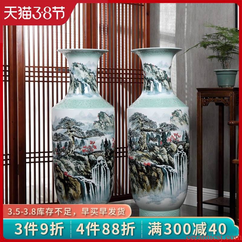 Jingdezhen ceramic landing large vases, hand - made jiangnan spring scenery of new Chinese style household living room decoration to the hotel opening