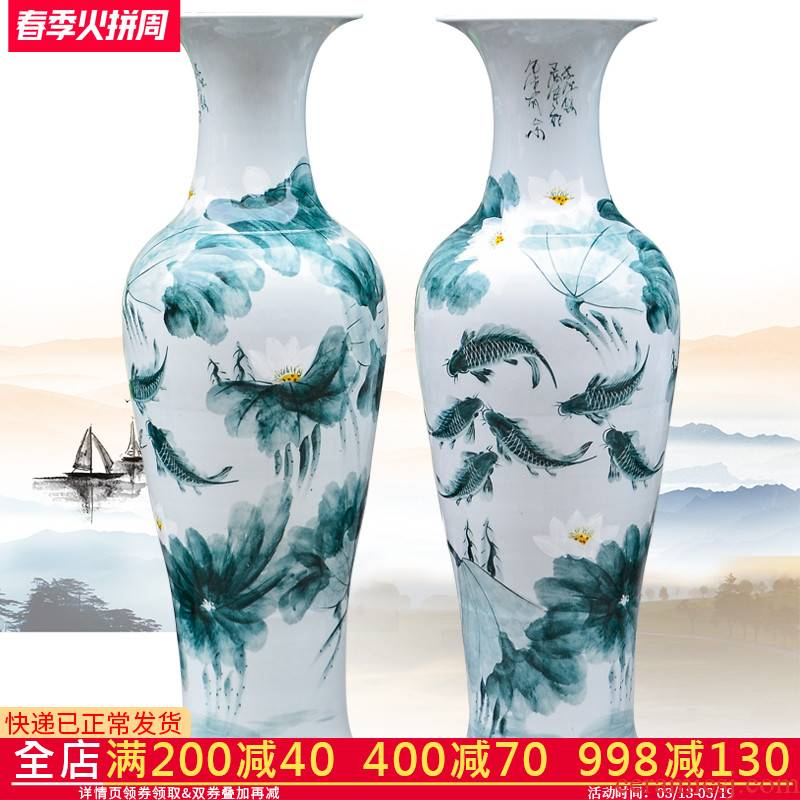 Jingdezhen ceramics hand - made color ink every year more than the French vase hotel family sitting room adornment is placed