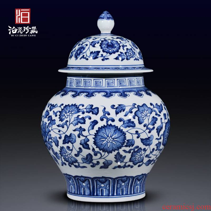 Jingdezhen ceramics barrel with cover grain storage jar jar caddy fixings new Chinese style sitting room adornment is placed