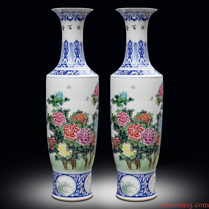 Jingdezhen ceramic hand - made blooming flowers sitting room of large vase household furnishing articles hotel opening gifts