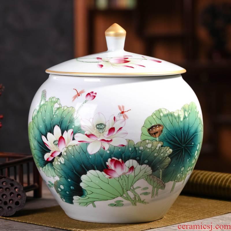 Caddy fixings large seal pot of tea cake tea to wake jingdezhen ceramic tea set storage store receives tea urn