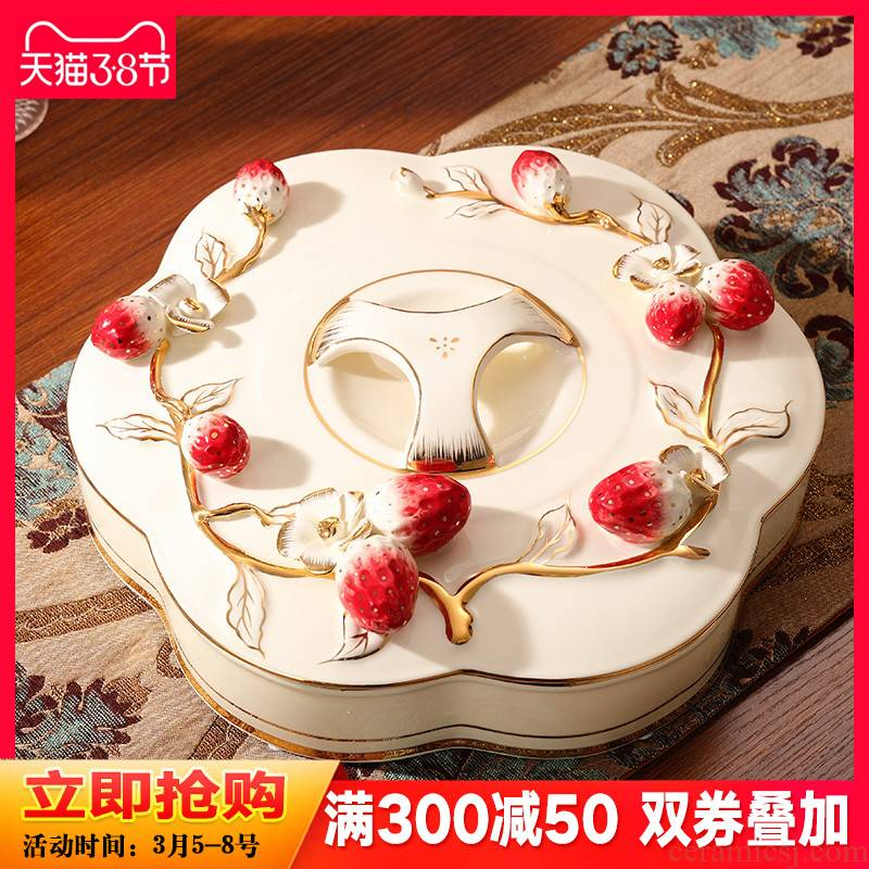 Key-2 Luxury European - style dry fruit tray was creative ceramic sitting room tea table separate snack plate melon seed box of candy dish home for the holiday
