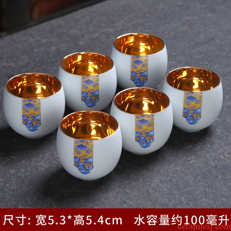 Blue and white porcelain paint 24 k Jin Gongfu tea cups checking ceramic gold sample tea cup single household purple