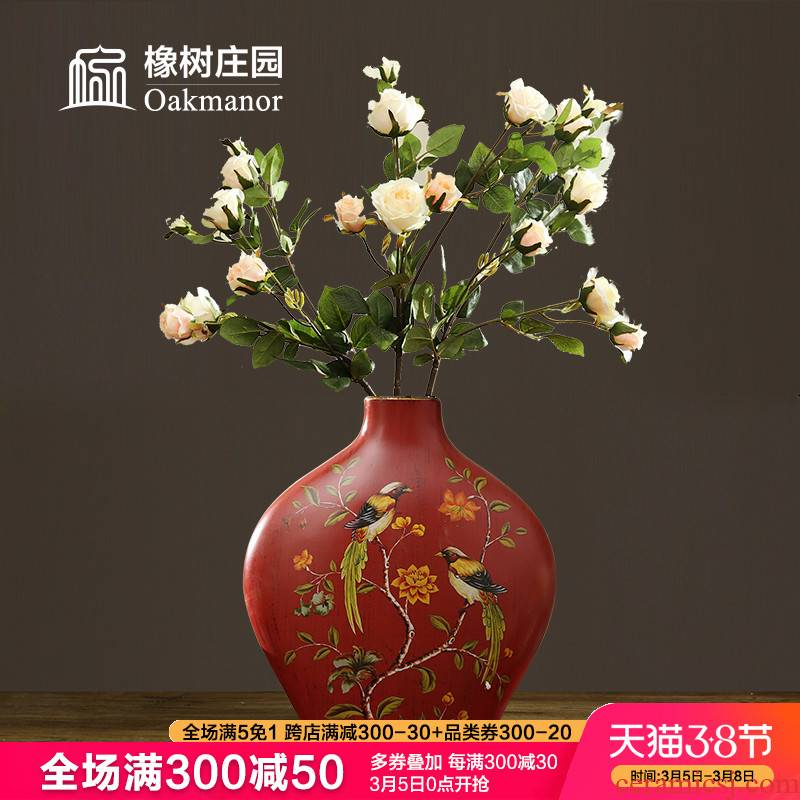 American retro vase furnishing articles sitting room dry flower arranging flowers, household act the role ofing is tasted table ceramic decoration of Chinese style red flowers