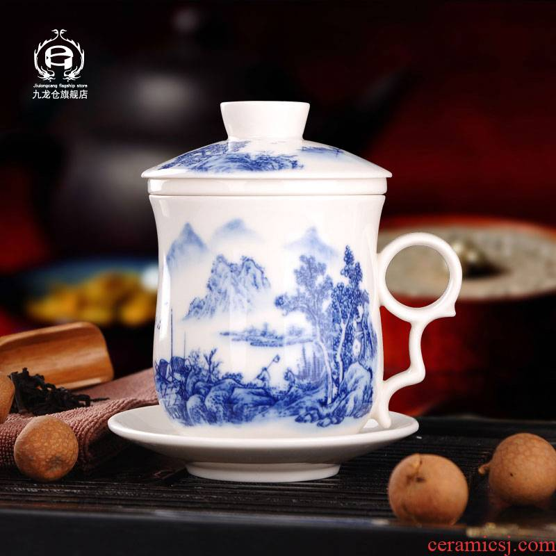 DH jingdezhen blue and white porcelain cup with cover household filter tea mugs office keller cup tea set