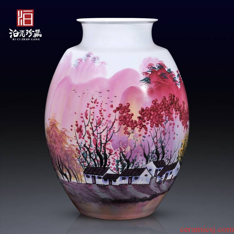 Jingdezhen ceramics famous hand - made of pearl color big vase collection of Chinese I and contracted sitting room adornment is placed